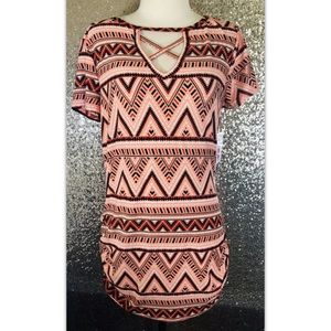 Small Tunic Top Shirt Ruched Side Aztec Stretch